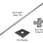Heavy Concrete Forming Accessories - Euro Threaded Taper Ties, Plate Washes, Wing Nuts