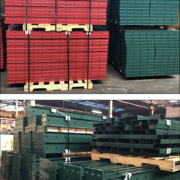 SureBuilt concrete form panles and walers powder-coated Christmas red and green