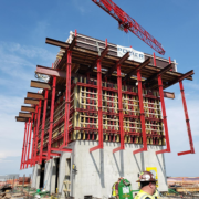 High-rise cores quickly take shape with the SureBuilt Self-Riser Core climbing formwork system