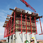The SureBuilt Self-Riser Climbing Formwork System is used to form concrete cores in high-rise buildings and structures..