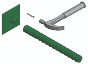 Positioning dowels with lumber edge forms is easy with the plastic Dowel Sleeve and Nailing Plate.